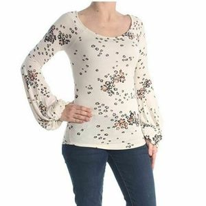 Free People XS Ivory Floral Knit Top L5-06